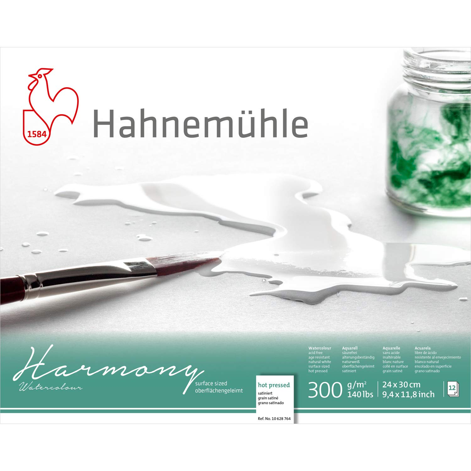 Hahnemuhle Harmony Watercolour Block,12 Sheets, 24x30cm Hot Press