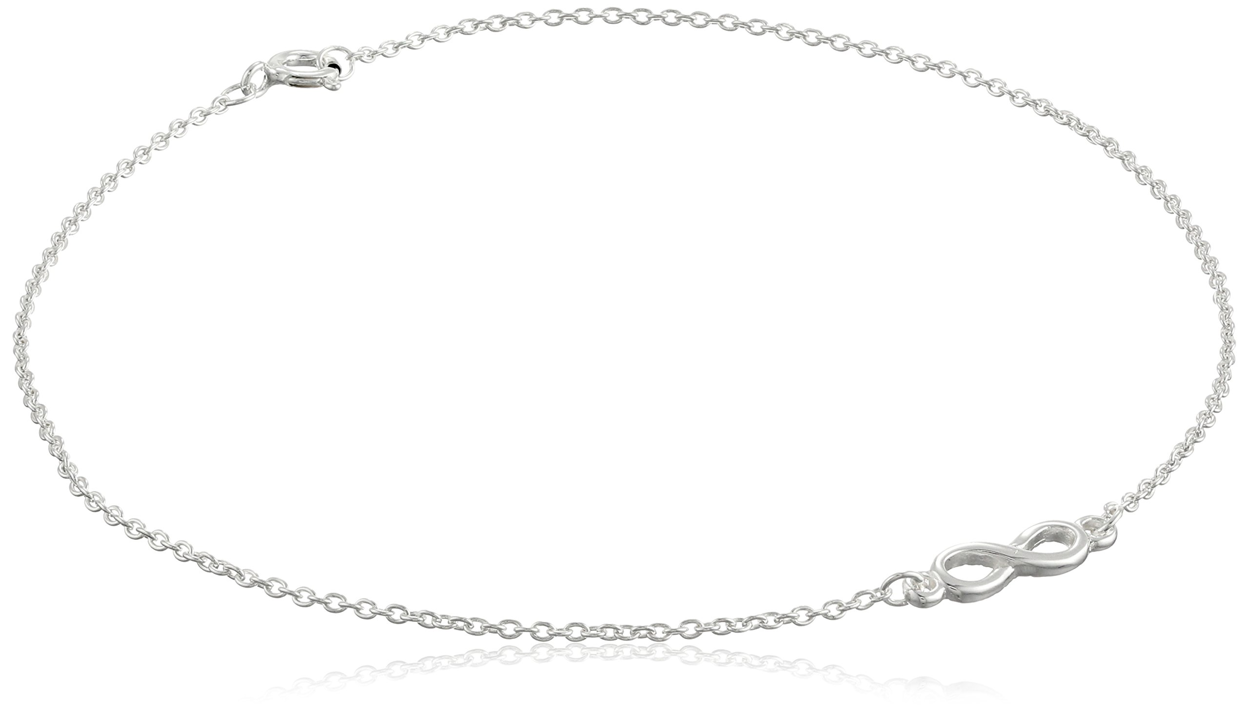 Sterling Silver Infinity Cable Chain Anklet, 10''