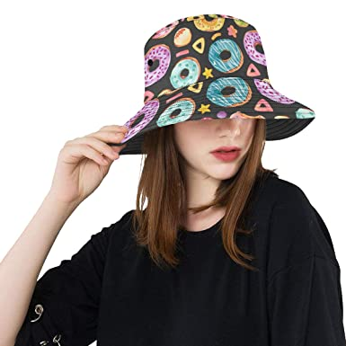 2a08eec4b Danexwi Beach Hat Summer Unisex Bucket Hat Donut Colorful Sweet ...