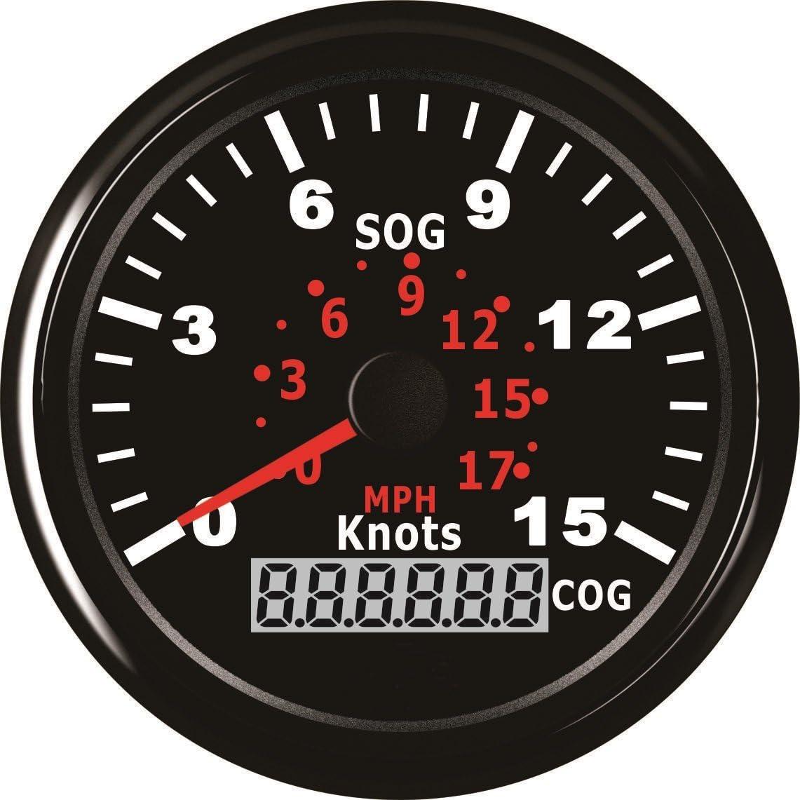 GPS Digital LED Backlight Speedo MPH /& Knots for Boats Motorcycle 85mm Black