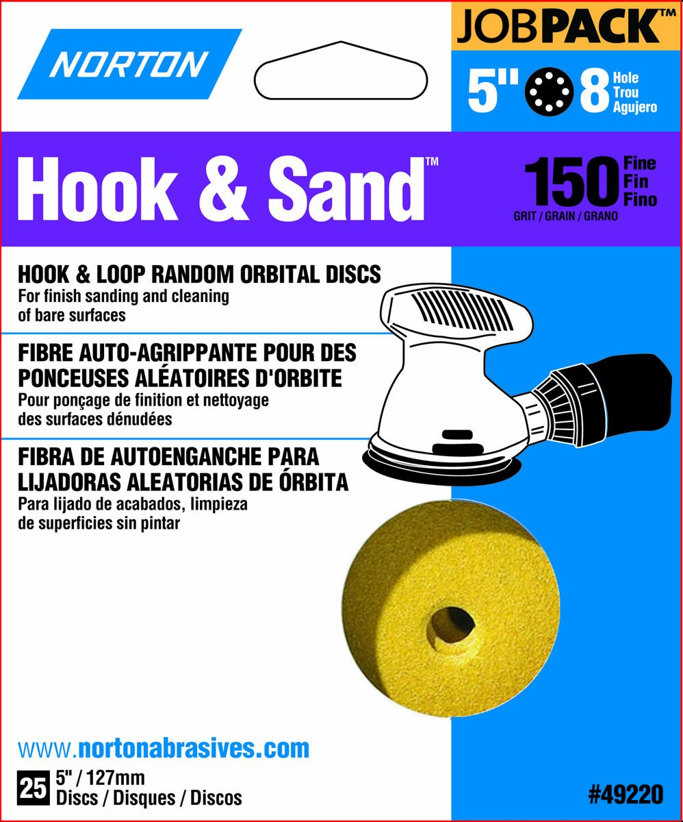 Norton Hook & Sand JobPack 49220 Hook & Loop Random Orbital Discs, P150 Medium Grit, Aluminum Oxide Abrasive, For Finish Sanding and Cleaning of Bare Surfaces, 5'' x 8 Hole (A290) (Pack of 25)