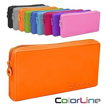 Colorline 58711 - Portatodo Plano de Silicona, Estuche Multiuso para Viaje, Material Escolar, Neceser y Accesorios. Color Naranja, Medidas 21 x 10.5 x ...