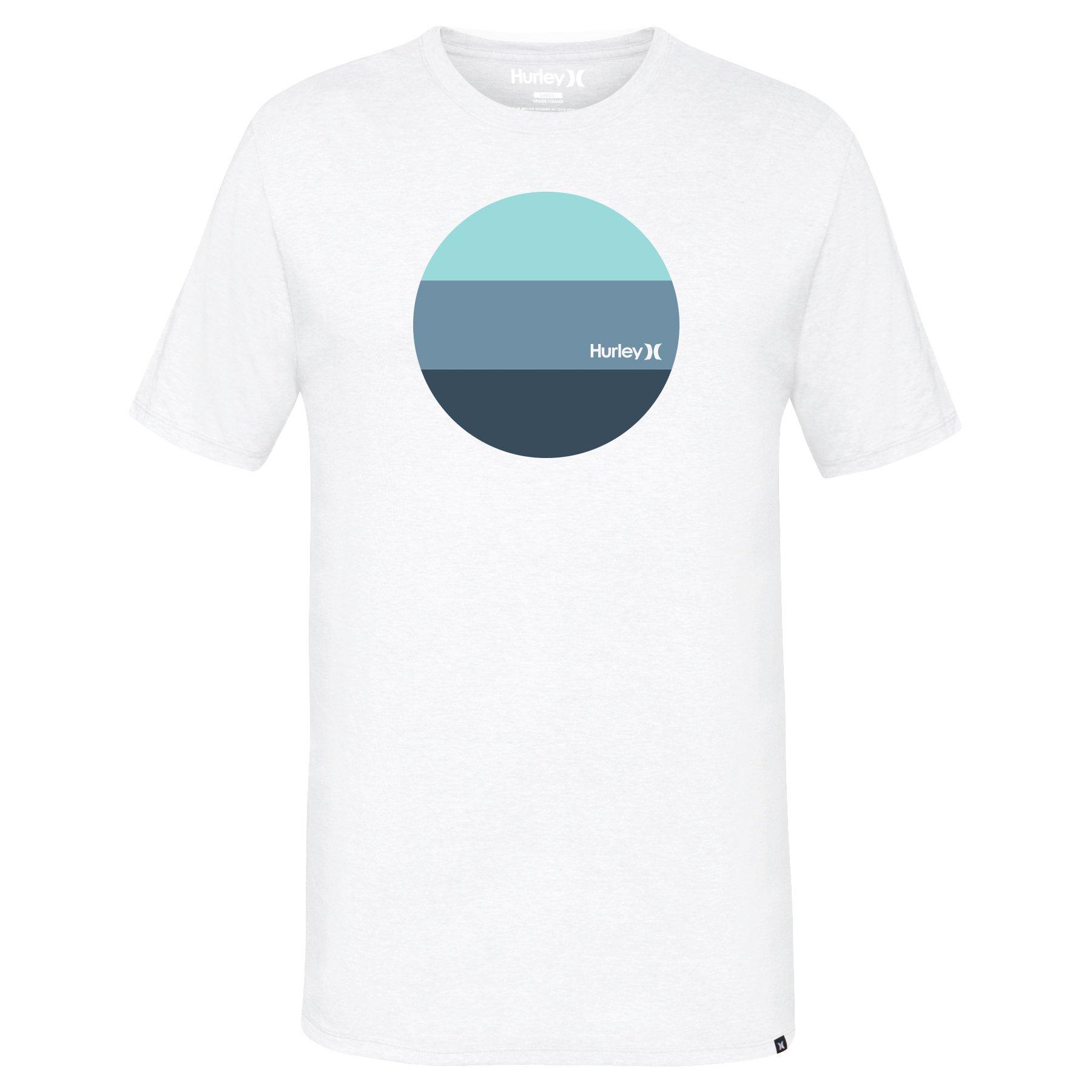 Hurley MTS0023350 Men's Circle Block T-Shirt, White A - L
