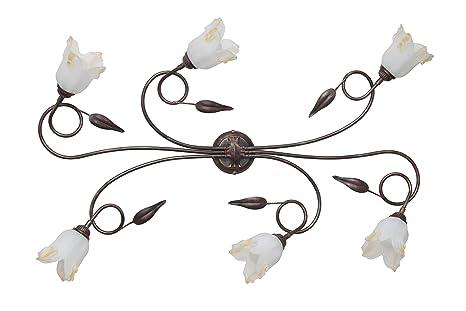 Plafoniera Ferro Battuto Nero : Made in italy silvia plafoniera classica lampada a soffitto