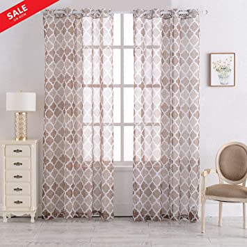 Printed Geometric Moroccan Sheer Curtain Linen Grommet Top Drapes for  Living Room/Bedroom Multiple Color Contemporary Curtains 55\