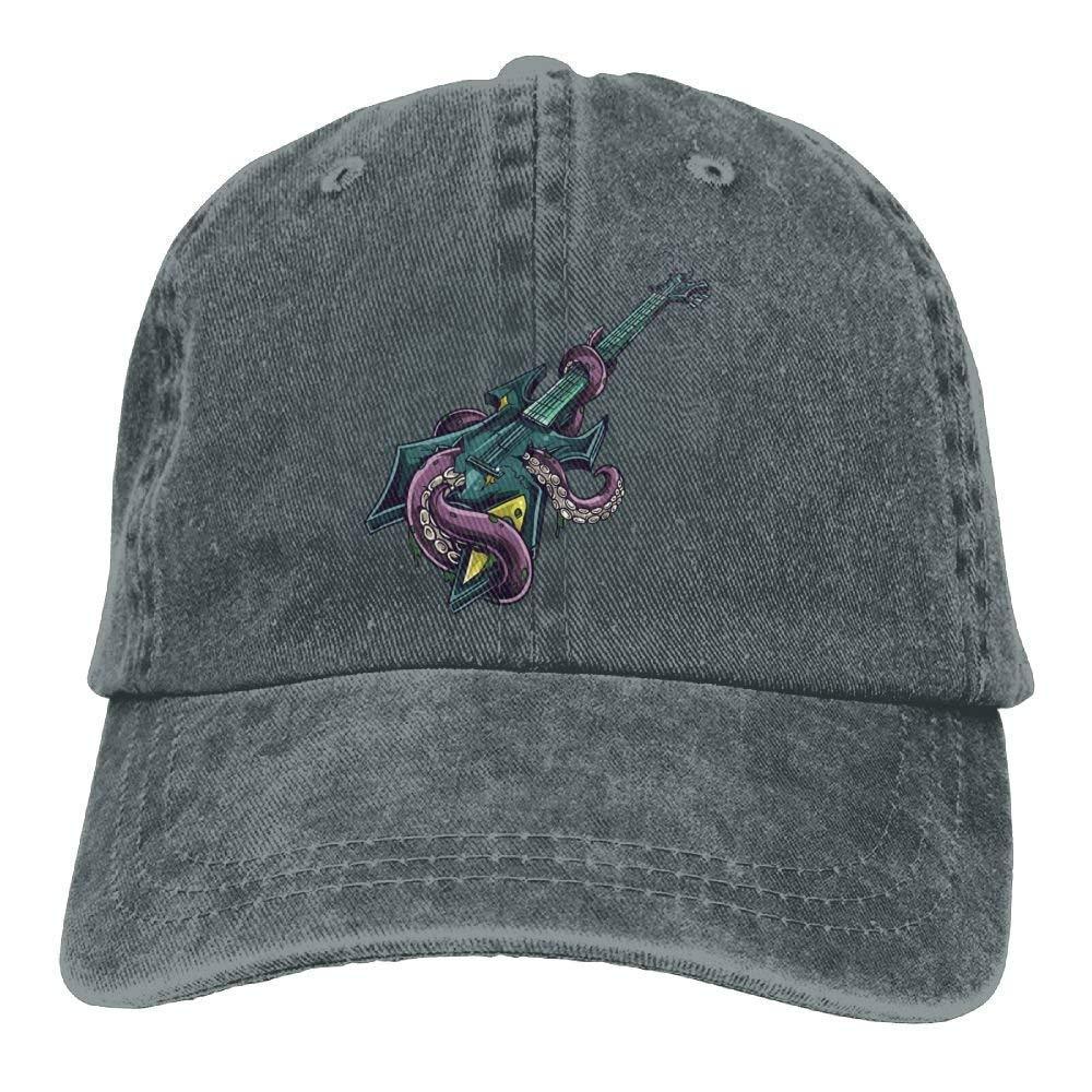 JTRVW Guitar Octopus Denim Hat Adjustable Unisex Dad Baseball Caps
