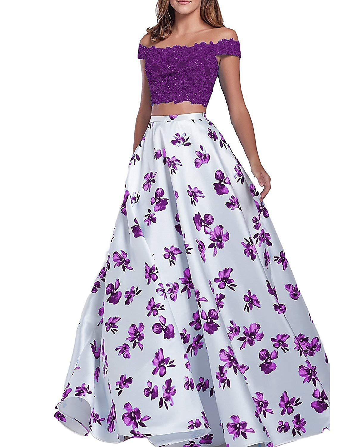 Purple Scarisee 2 Pieces Off Shoulder Beaded Floral Print Prom Evening Party Dress Lace