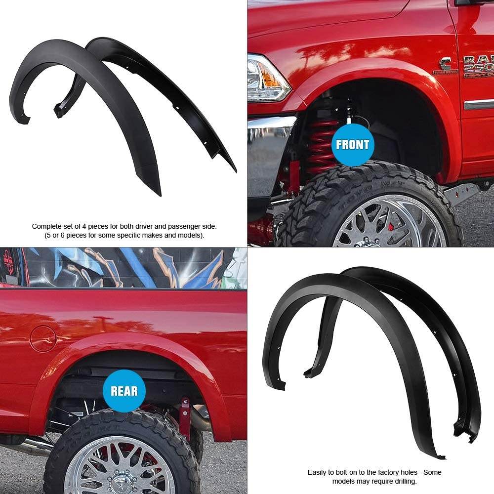 Smooth Finish OE Style Heavy Duty ABS Blister Plastic Fender Flare Compatible with 2010-2018 Dodge Ram 2500 3500