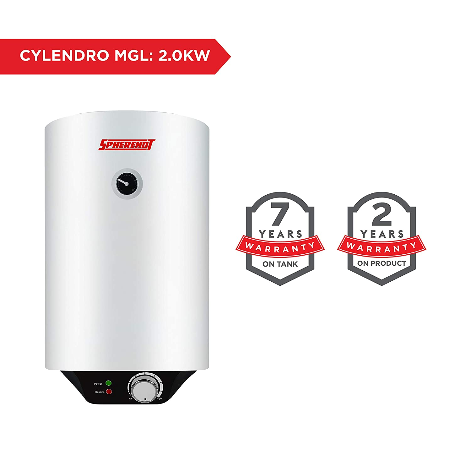 Spherehot 15L Cylendro Electric Metal GL WM Vertical, White