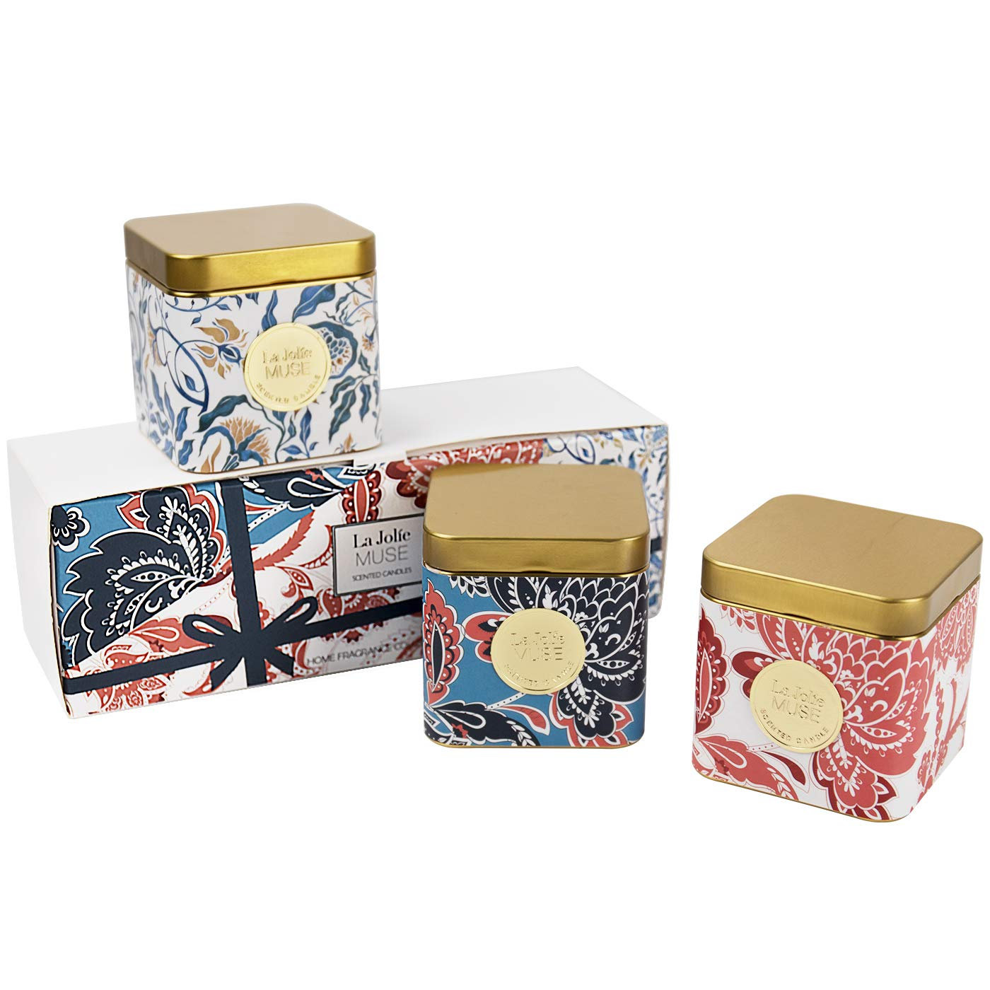 LA JOLIE MUSE Scented Candles Gift Set - Natural Soy Wax Mood Candles, 3 Small Travel Tin Aromatherapy Candles, 400g Mini Stress Relief Portable Essential Oil Candles, Relaxing Gift (Gold Trio) by LA JOLIE MUSE