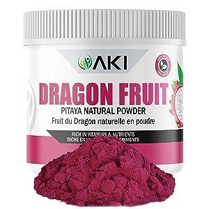 Aki Natural PITAYA DRAGON FRUIT Powder Dried Superfood Rich in Antioxidant, Sugar Free Bulk Powdered DragonFruit For Baking, Flavoring, Smoothie, Yogurt, Recipes, Sprinkle of Magenta Color 5.29Oz/150G