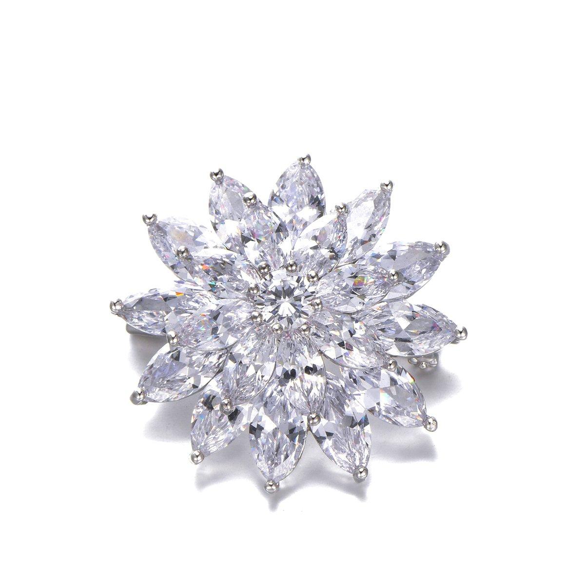 Flower Brooch Pins for Women,Dazzling Rhinestone Brooch for Brides Copper Vintage Crystal Brooch Girls