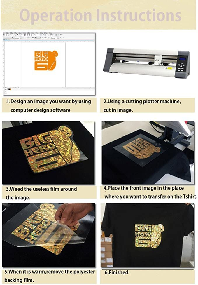 HOHO - Hoja de vinilo de transferencia térmica para prendas de vestir, con diseño de rayas holográficas. Vinilo termoadhesivo para plancha, de 50,8 x 30,48 cm: Amazon.es: Hogar