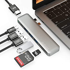 USB C HUB for MacBook Pro/Air M1, 7 in 1 USB-C Adapter with Thunderbolt 3 (100W PD), 4K HDMI, 3 USB 3.0 Ports, SD/TF Card Reader, Type C Hub Adapter for MacBook Pro/Air M1/2020/2019/2018