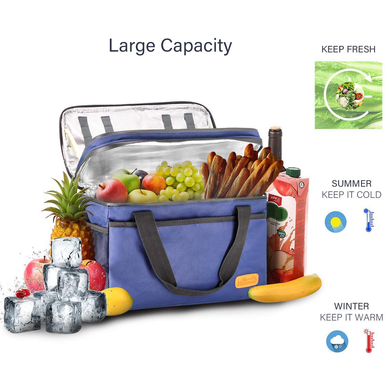 18L, Blu Scuro Porta Pranzo Borsa con Tracolla Grande capacit/à,Isoterma per Alimenti Mantenere Caldo o Freddo per Picnic//Allaperto//Barbecue//Campeggio//Lavoro Viedouce Borsa Termica