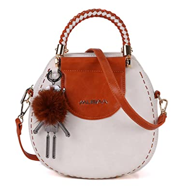 a3170c9c992e MUSAA Vintage Round Shape PU Leather Spell color Shoulder Bag Totes Cross-body  Handbags For