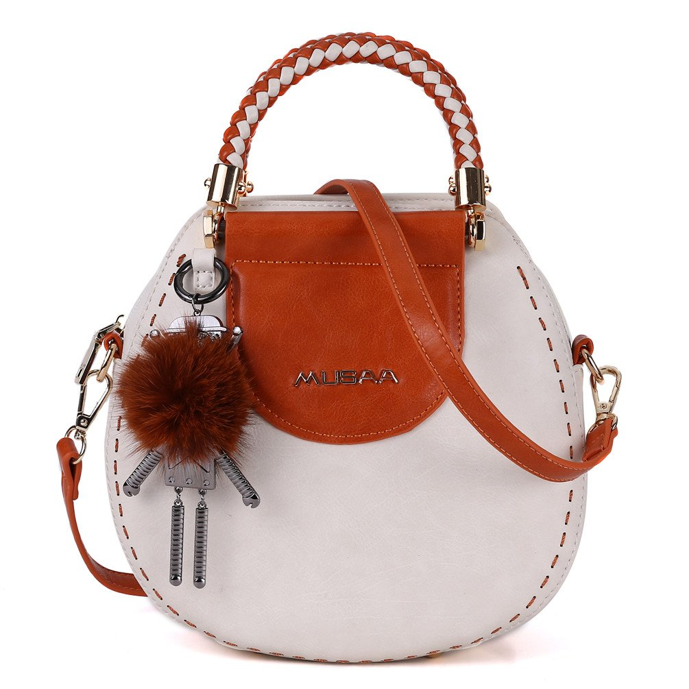 MUSAA Vintage Round Shape PU Leather Spell color Shoulder Bag Totes Cross-body Handbags For Women,Gift-worthy totes (Beige)