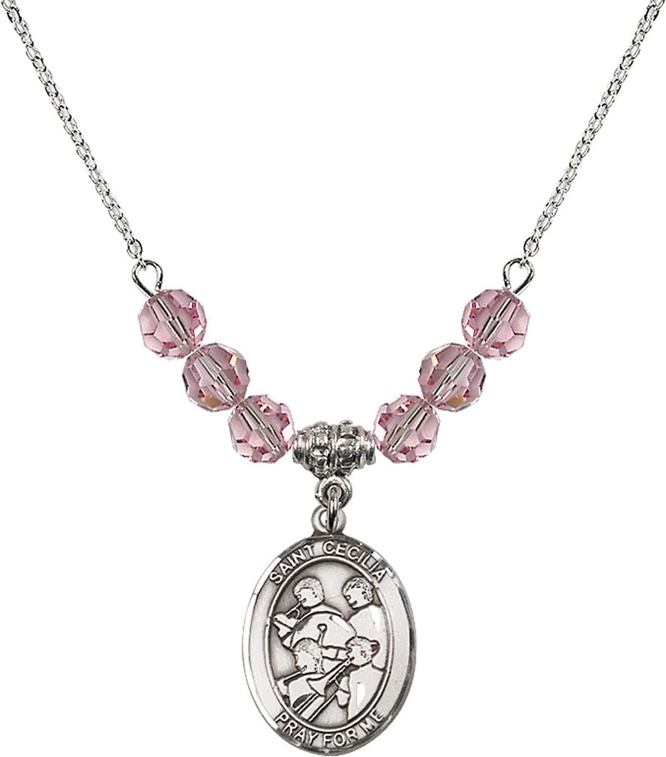 Bonyak Jewelry 18 Inch Rhodium Plated Necklace w// 6mm Light Rose Pink October Birth Month Stone Beads /& Saint Cecilia//Marching Band Charm