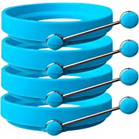 Silicone Egg Rings by Ozetti - Make Perfectly Round Fry Eggs or Pancakes - Professional Non-Stick BPA-Free Silicone…