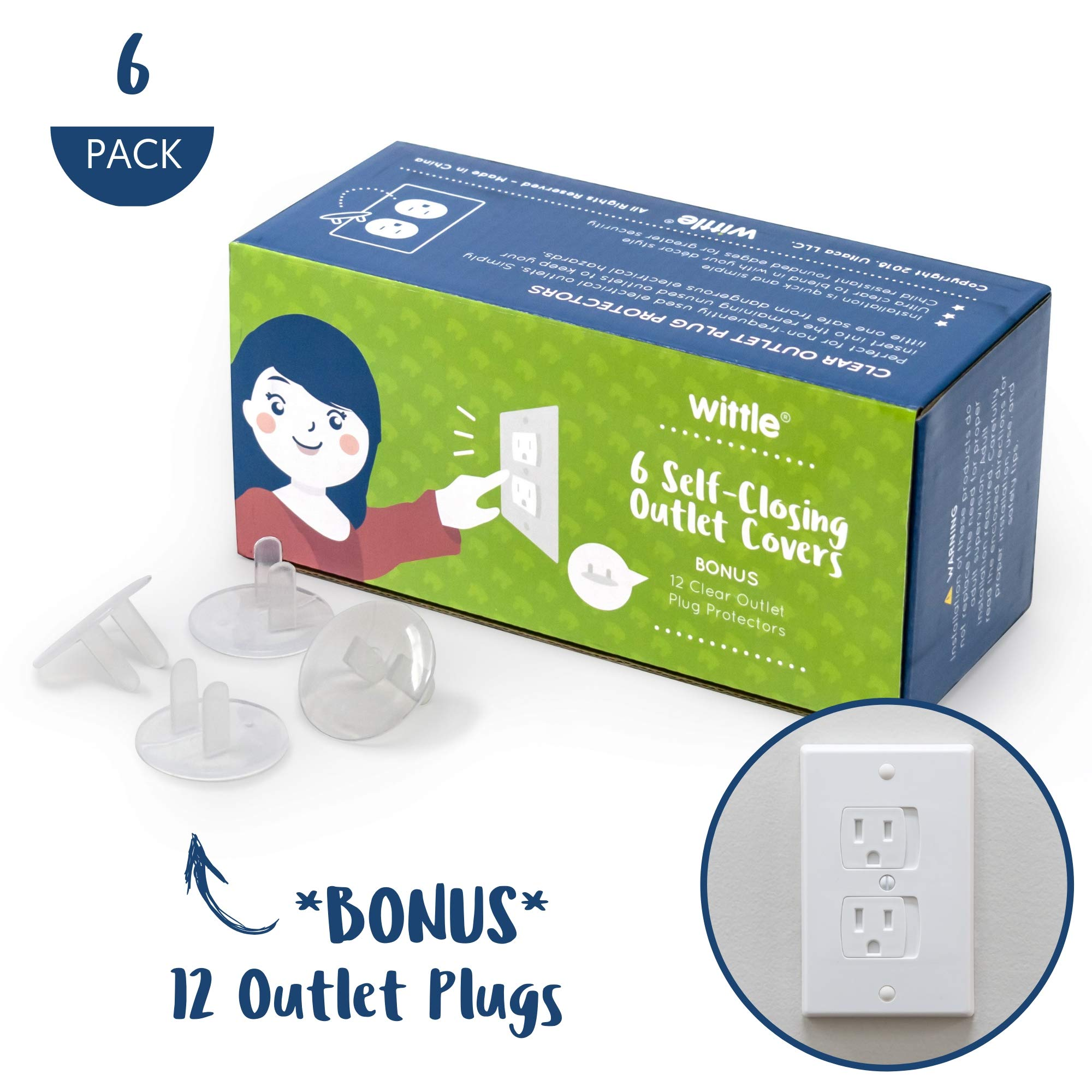 Wittle Self Closing Outlet Covers (6 White) Plus 12 Clear Plug Cover Outlet Protectors - Baby Proofing Outlets with Electrical Child Safety Kit by Wittle
