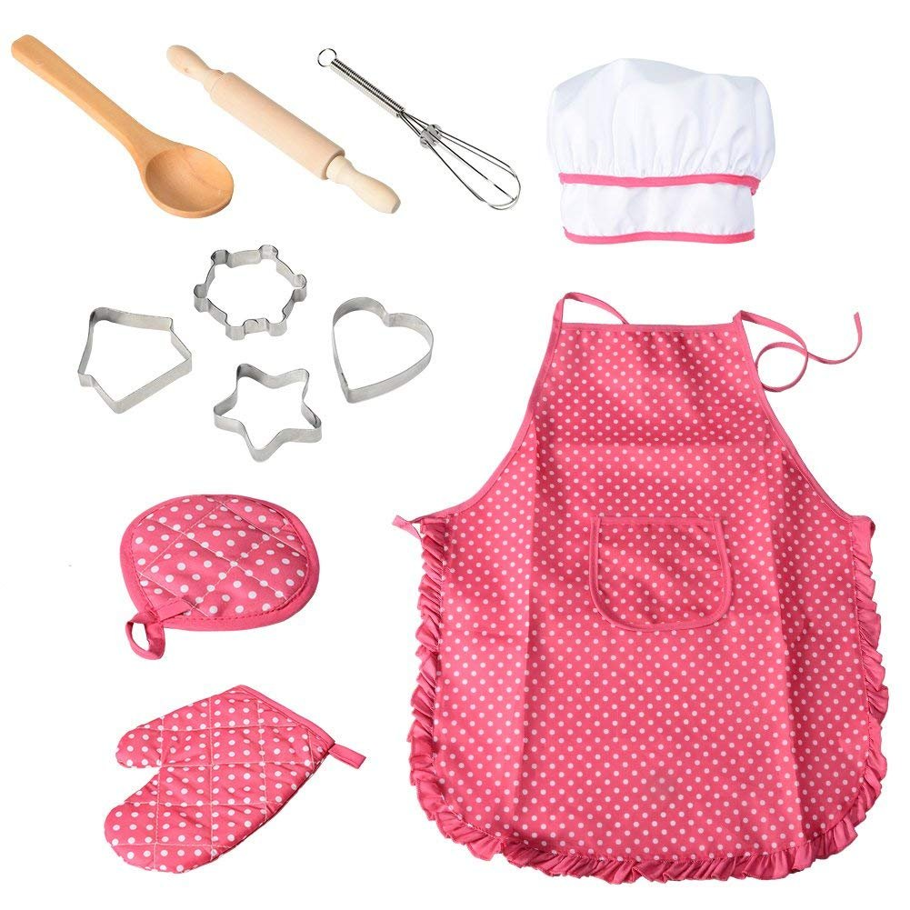 Funslane 11 Pcs Kids Cooking and Baking Set with Apron for Girls, Chef Hat, Oven Mitt, and Other Cooking Utensils for Toddler Chef Career Role Play, Children Dress up Pretend Play, Great-Gift by FunsLane
