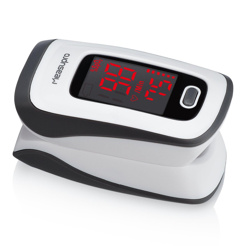 MeasuPro Instant Read Digital Pulse Oximeter, Pulse Rate Monitor and SpO2 Oxygen Sensor, Includes Batteries, CE