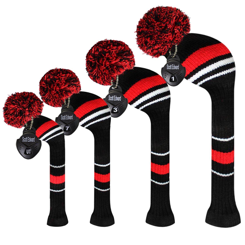 Scott エドワード ゴルフクラブ用 ヘッドカバー 赤のストライプ柄 アクリル毛糸 二層構造ニット 回転式番号札付き 4個セット B06Y1S53FQ