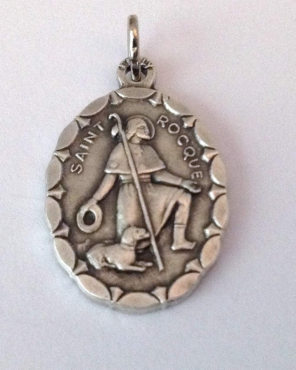 Medalla ovalada de San Roque de Montpellier Medallas de Santos Patronos