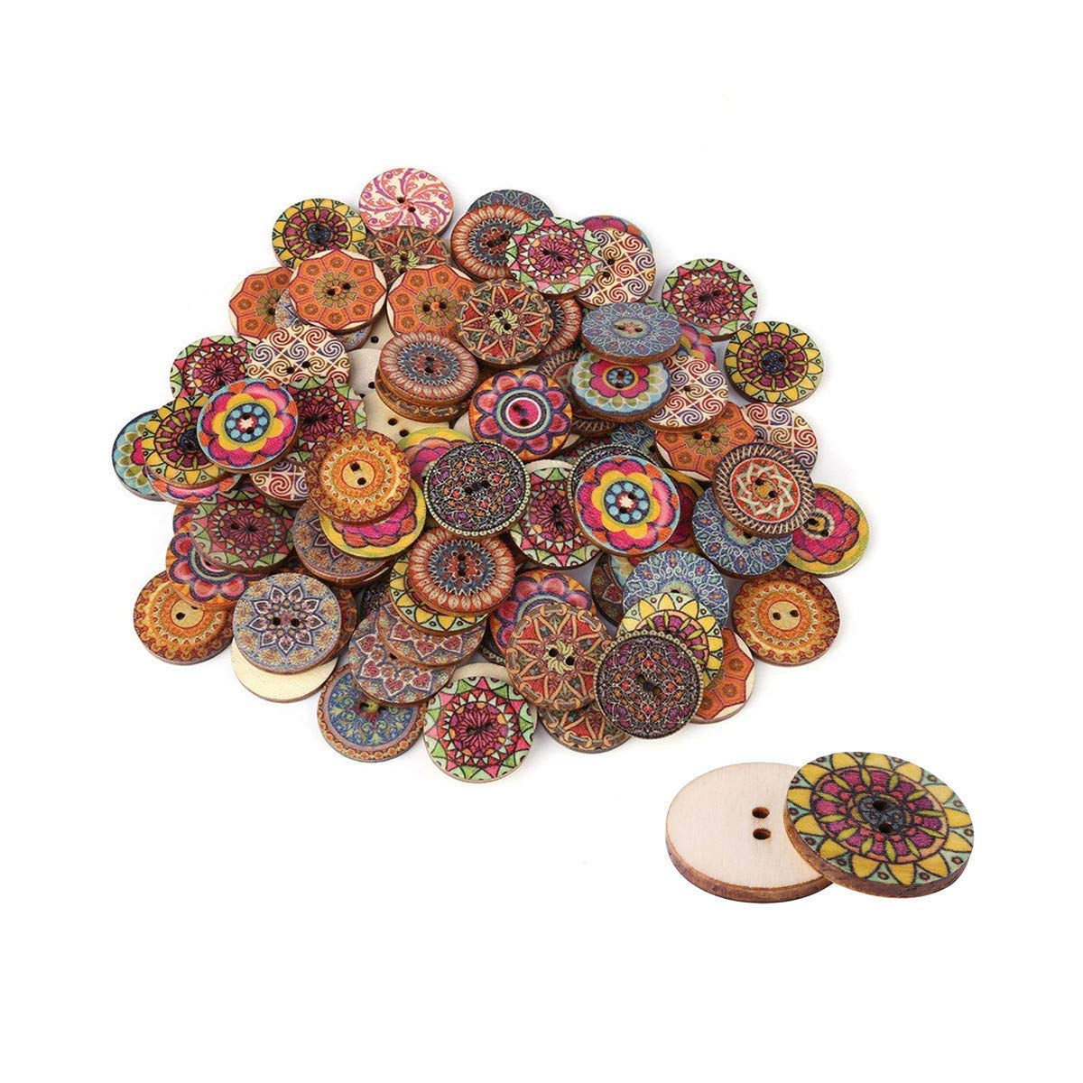100 pezzi 25 mm colore misto liscio bottoni in legno vintage 2 fori bottoni in legno per la decorazione del mestiere di cucito fai da te o notebook