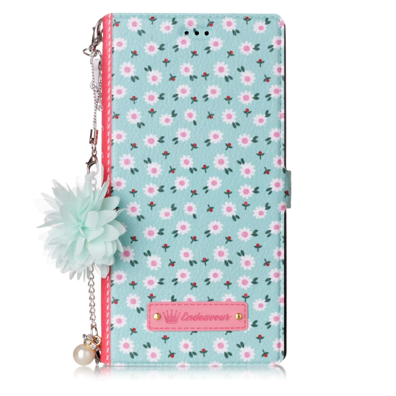 Custodia per iPhone 6 4.7, iPhone 6S Cover Libro, Ekakashop Fashion Colorato Colourful Flower Pendant + Chain Hand Strap Design Slim-Fit Flip PU Leather Book Wallet Magnetic Case,Ultra Thin Bookstyle Shockproof Built-in Stand 360 Degree Full Body Protectio