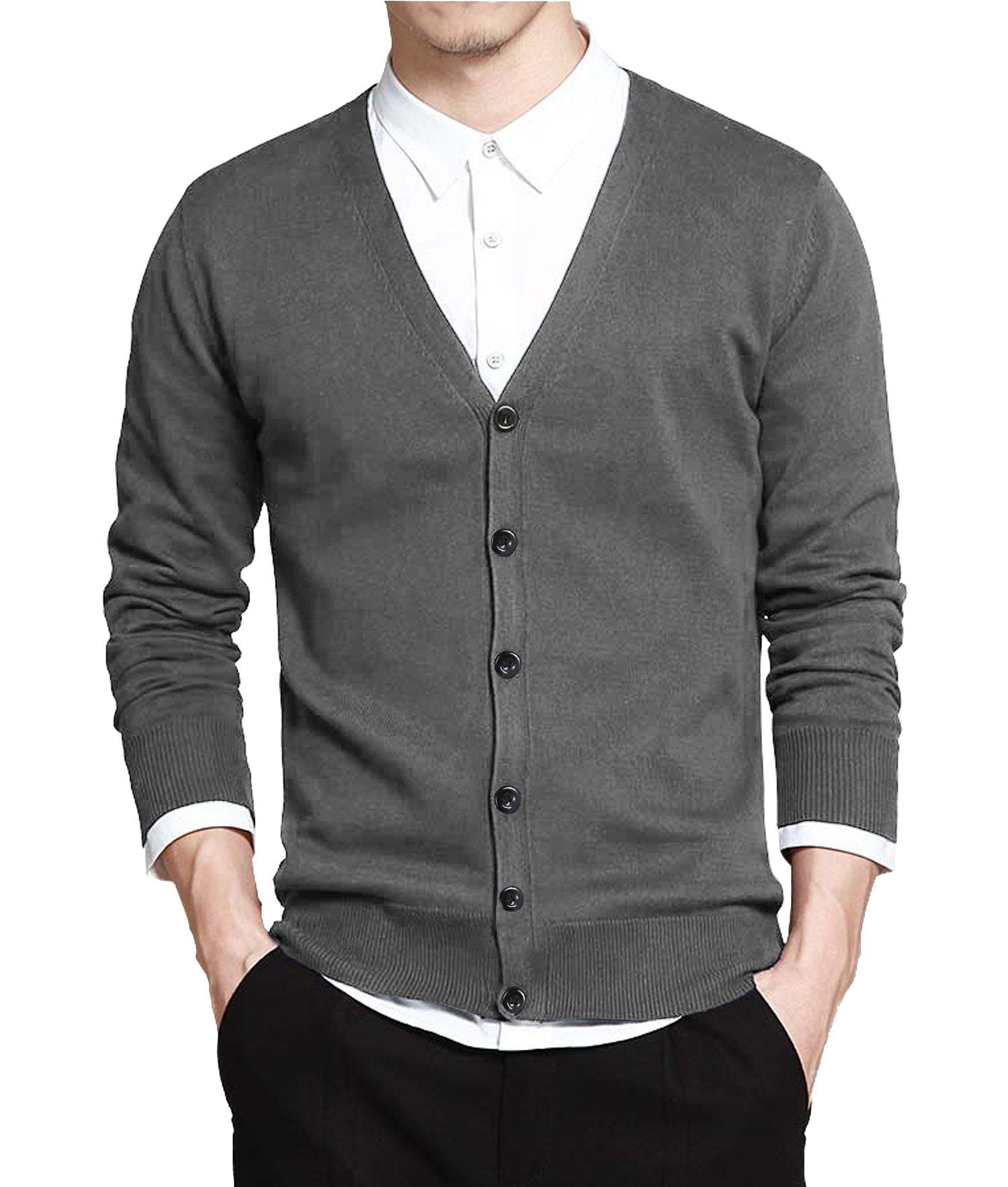 Coofandy Men's Basic Slim Fit Cardigan Sweater Casual V Neck Button Down Knitwear,X-Large,Grey