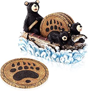 VUDECO Cute Black Bear Canoe Coasters Set Christmas Decor Cabin Decor Bar Accessories Funny Hunting Decorations for Home Decor Rustic Gifts Country Gifts for Men Women - 4 Coasters with Bear Paw