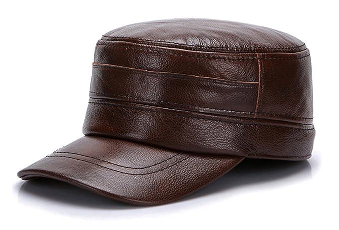 GEMVIE Gorras Sombreros Plana para Hombre Cuero Visera Aire Libre: Amazon.es: Ropa y accesorios