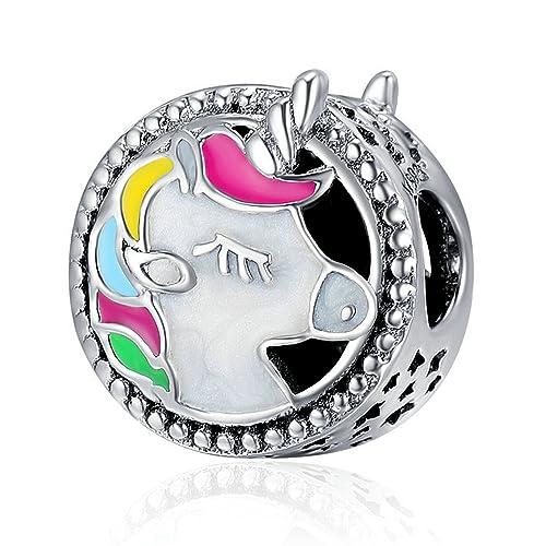 Abalorio de unicornio de plata de ley 925 con esmalte colorido para pulsera de cadena de serpiente: Amazon.es: Joyería