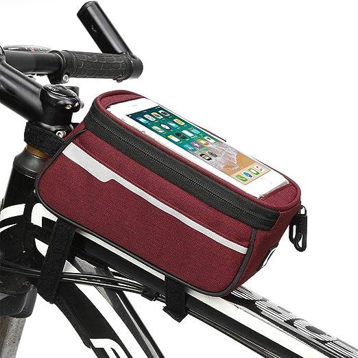 WHTBOX Bolsa De Bicicleta Manillar,Bolsa Bicicleta Cuadro Movil,Pantalla TáCtil Flexible, Estable, Duradera, Gran Espacio, Adecuado para Todo Tipo De Bicicletas,Red-M: Amazon.es: Jardín
