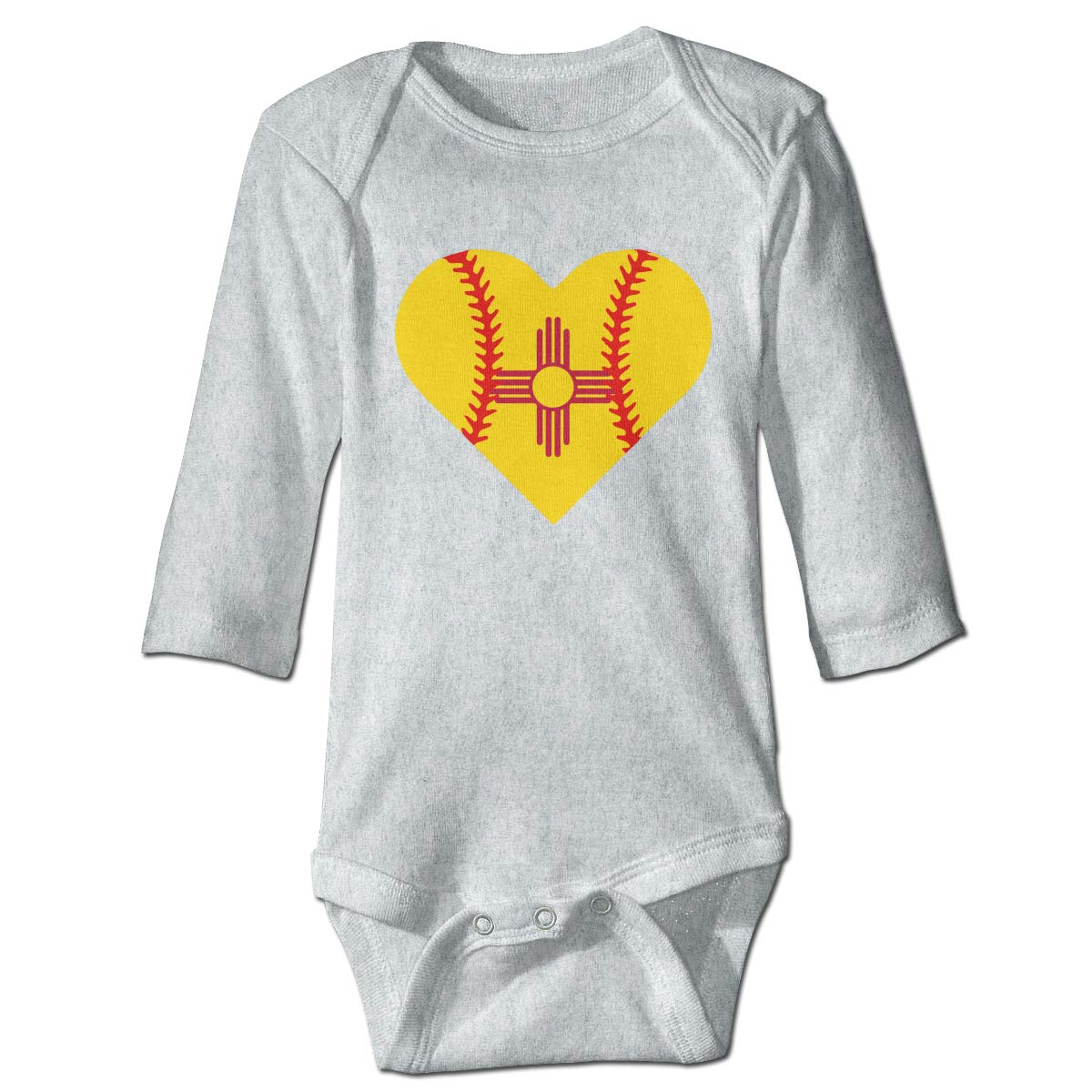 A14UBP Newborn Baby Boys Girls Long Sleeve Baby Clothes New Mexico Flag Baseball Heart Unisex Button Playsuit Outfit Clothes