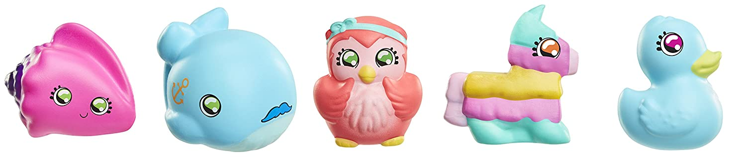 Squish-Dee-Lish 5-Pack Slow-Rise Squishies, Series 3-Pink Sea Shell Whale, Owl, Piñata, Blue Duck Bendable-Toy-Figures Piñata Jakks 29995