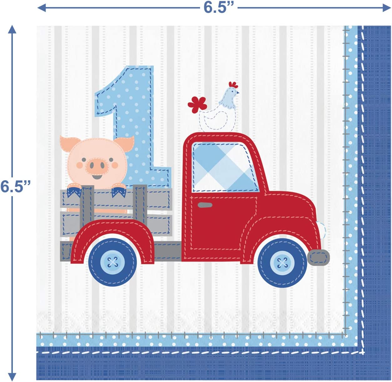 Farmhouse Blue and Red Truck 1st Birthday Paper Dessert Plates and Luncheon Napkins Serves 16 Farm Birthday Party Supplies for Boys