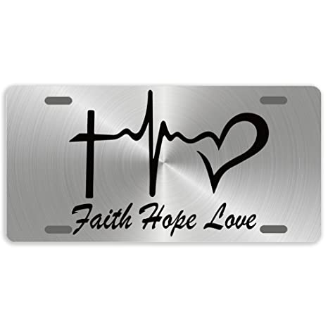 Eprocase License Plate Cover Novelty Tag Metal Aluminum Car Plate Decorative Car Tag Sign Auto Tag Front License Plate 4 Holes 12 X 6 Faith Hope