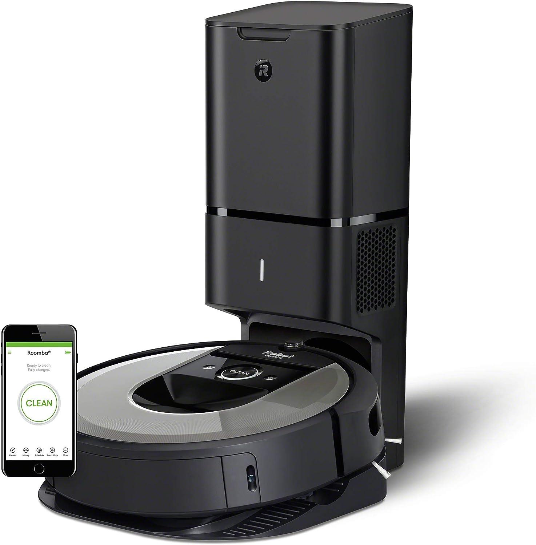 iRobot Roomba i7556 Aspirateur Robot connecté avec système d'autovidage et aspiration surpuissante - brosses en caoutchouc multisurfaces - idéal pour les poils d'animaux
