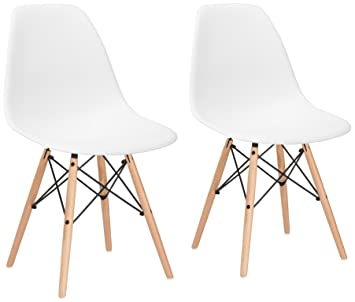 Amazon Poly and Bark Vortex Side Chair White Set of 2