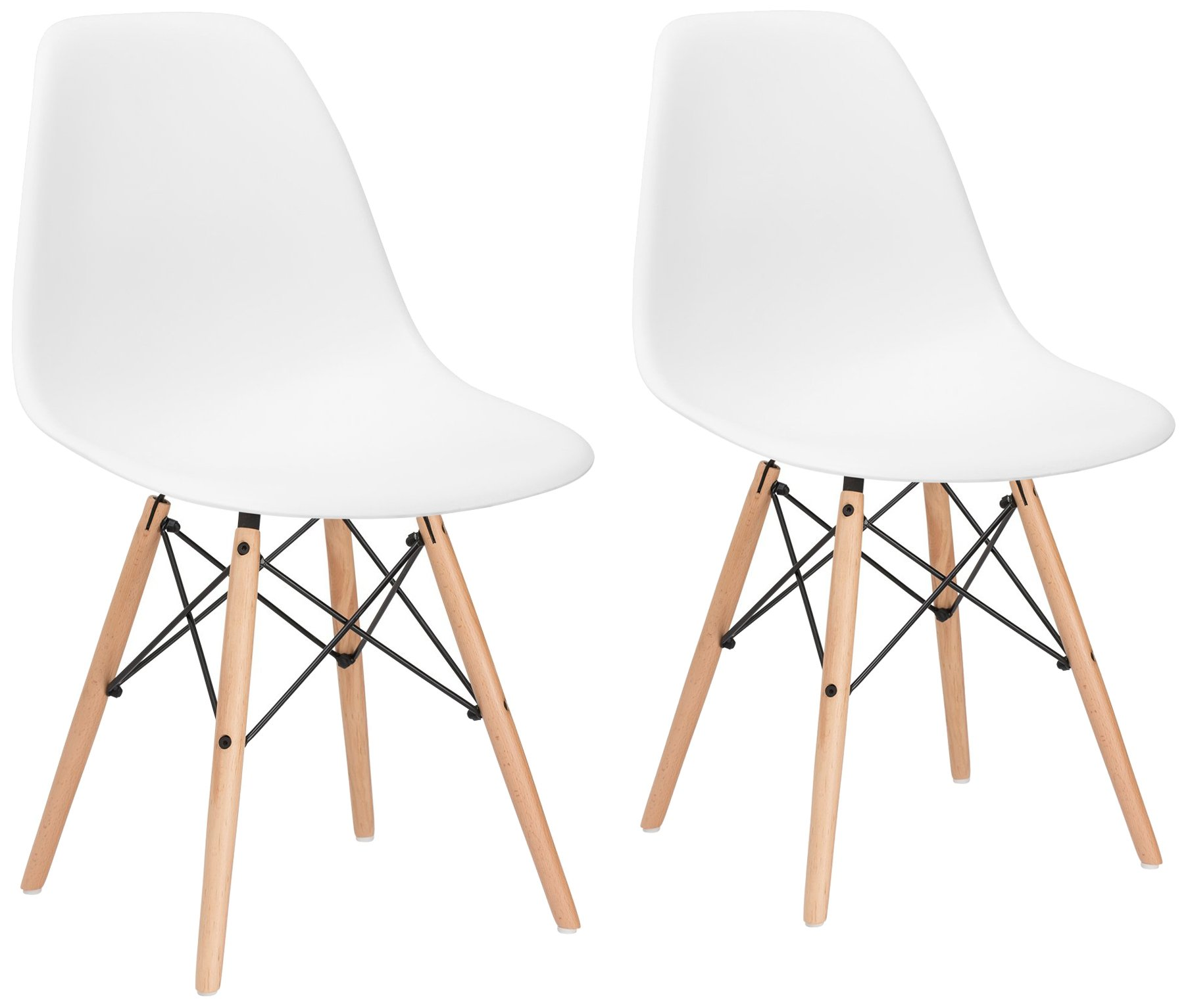 Poly and Bark Vortex Side Chair, White, Set of 2