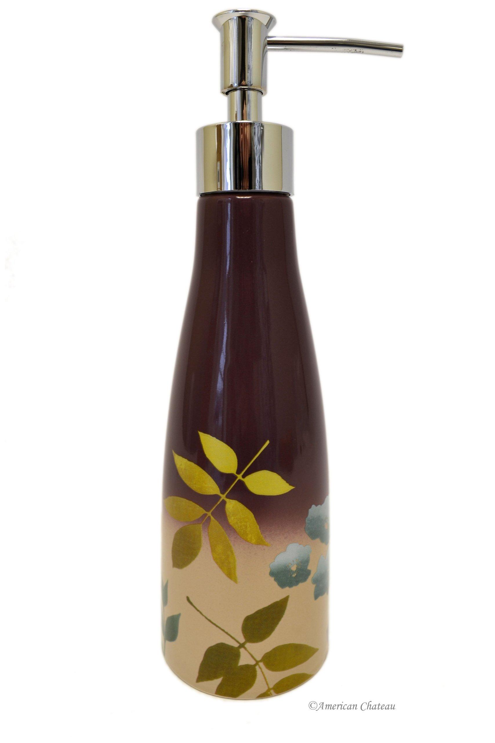 American Chateau Purple Flower & Leaves Ceramic Bathroom Sink Bath Soap Lotion Dispenser Pump