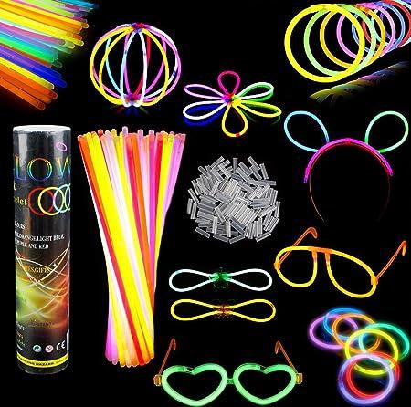Barras luminosas, Pack de 100 Pulseras fluorescentes glow pack multicolor,Simuer Glow Sticks Varitas Luminosas para Fiestas -8