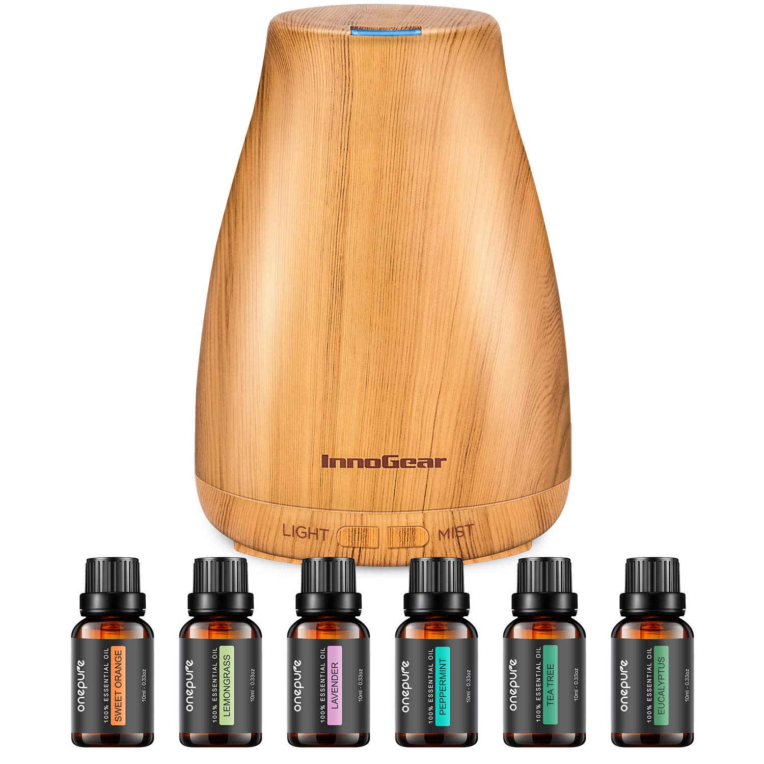 Aromatherapy Diffuser with 6 Essential Oils Set, Aroma Cool Mist Humidifier Gift Set