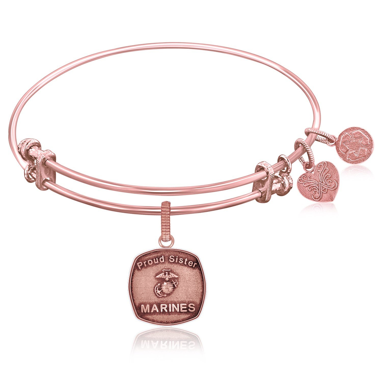 Expandable Bangle In Pink Tone Brass With U S Marines Proud Sister