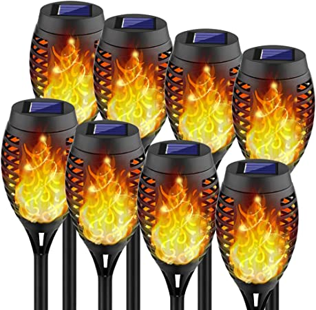 Kurifier Solar Lights Outdoor, 8Pack Solar Torch Light with Flickering Flame, Security&Waterproof/Festive&Romantic Decoration Landscape Mini Tiki Torches for Yard, Patio, Garden-Auto On/Off Lighting