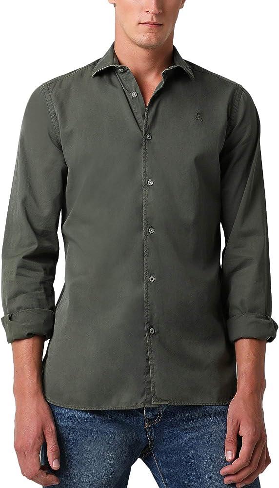Scalpers Camisa ALGODÓN Regular FIT - Dark Khaki / 41: Amazon.es: Ropa y accesorios
