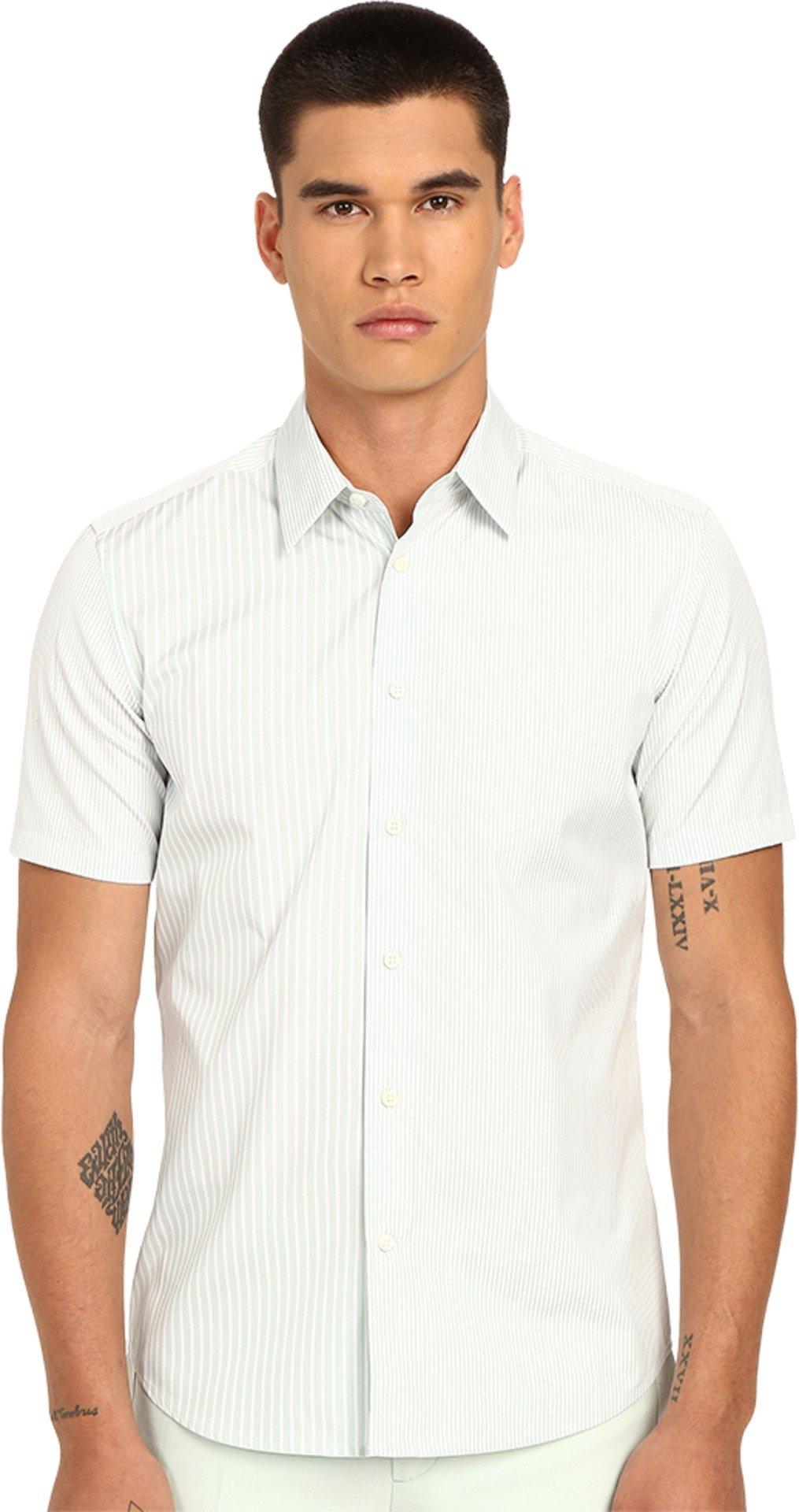 Marc Jacobs Men's Summer Stripe Slim Short Sleeve Button Up Mint Stripe 54 (US 44)