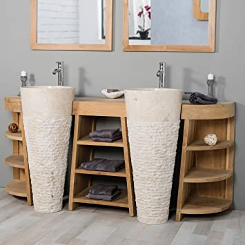 wanda collection Mueble de baño de Teca Florencia Doble 180cm + lavabos Crema: Amazon.es: Hogar